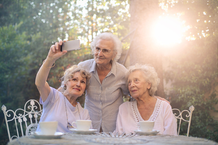 senior female: Elderly women doing a selfie