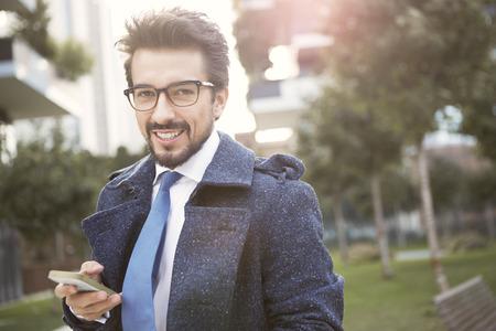 Businessman smiling Stock Photo