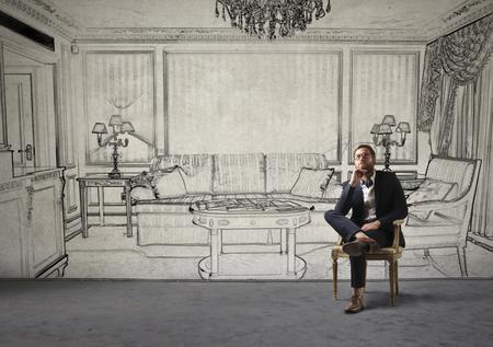 luxury living room: In the luxury living room Stock Photo