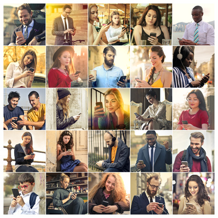 People using smartphones photo