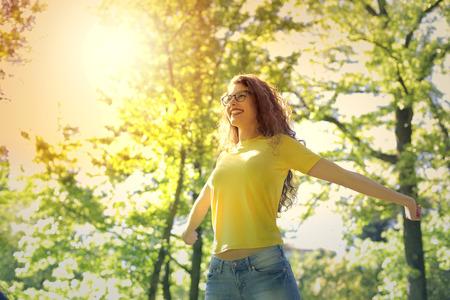 自然の中で幸福 写真素材