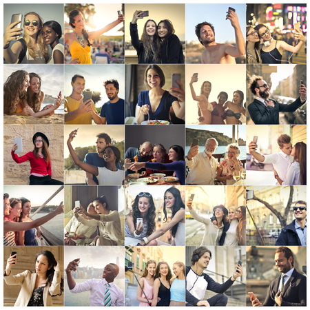 all smiles: People doing a selfie Stock Photo