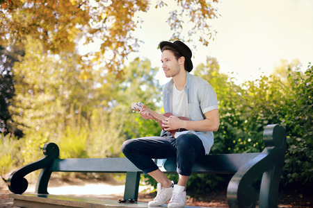 Sitting on a bench at the park