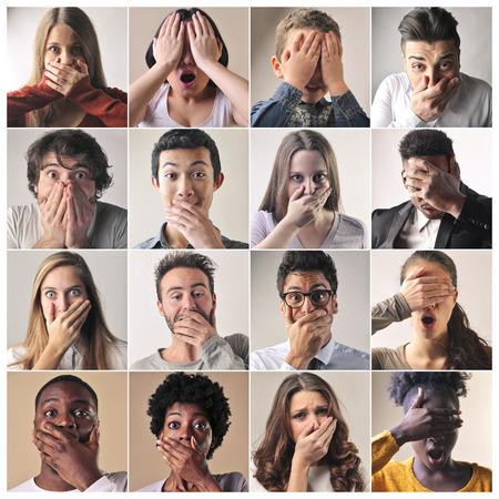 caras tristes: Las personas que lamentaban algo Foto de archivo
