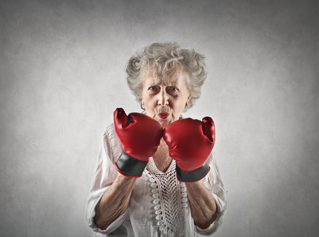 Elderly fighter Stock Photo