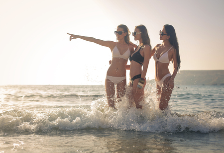 Girls spending a day at the beach