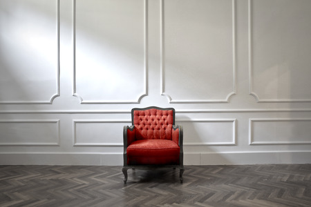 luxury room: Red armchair in a luxury room