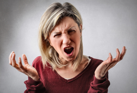 Angry womans complaint Stock Photo