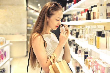Shopping in the perfumery Stock Photo