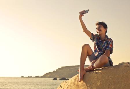 Selfie at the beach Stock Photo