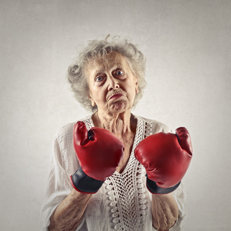 pugilist: Aggressive elderly woman