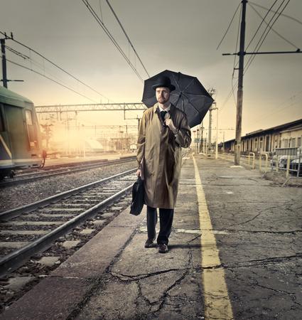 English businessman waiting on the platform