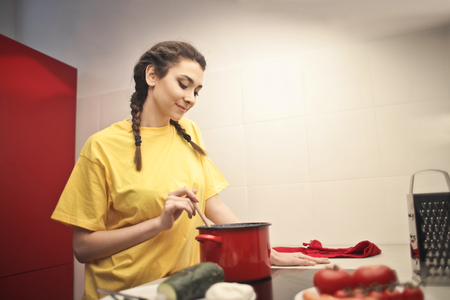 ingedient: Cooking in a yellow shirt