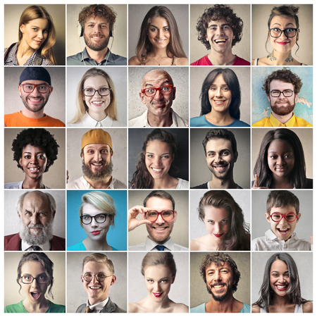 Twentyfive different faces Stock Photo
