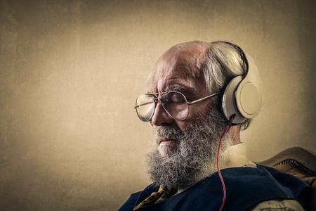 copyspace: grandpa is listening to music