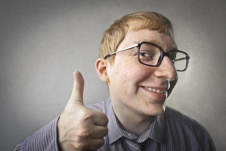 business sign: Nerd guy in glasses