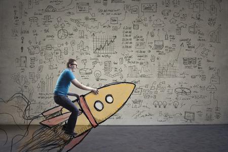 man rides an imaginary spaceship