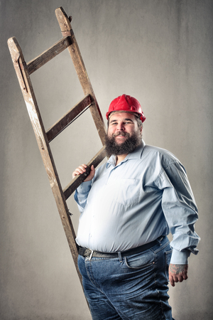 Fat man with a ladder