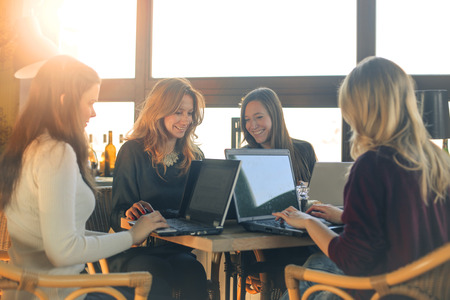 study: Co-working in a restaurant Stock Photo