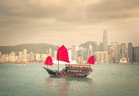 popular: A boat is sailing to Hong Kong Stock Photo