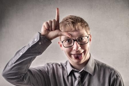 Loser man in glasses