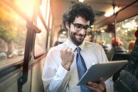 exult: Happy man on the bus