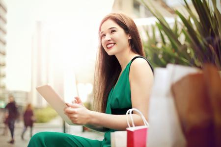 Pretty lady in a green dress photo