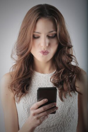 long: Brunette woman is texting