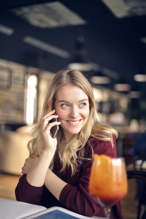 Beautiful girl even when having the phone call