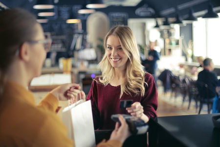 Blonde girl is shopping Stock Photo