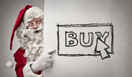 Santa Claus is shopping online Stock Photo
