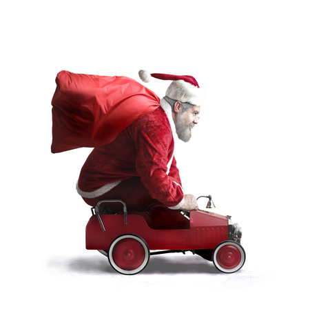 Santa Claus with a toy car