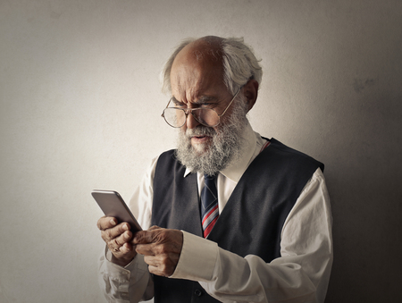 telephone: Old Man Trying To Understand also his phone
