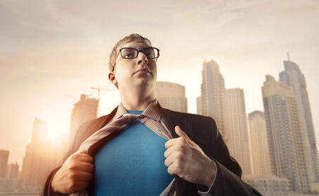 Superhero in the big city Stock Photo