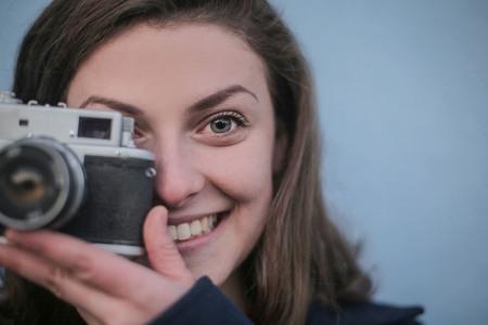 copyspace: Woman is taking a photo