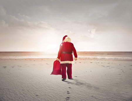 traditional: Santa Claus is walking in the desert