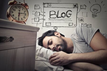 lying in bed: The man is sleeping about his blog