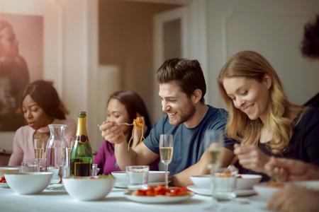 lady on phone: Good friend having dinner Stock Photo