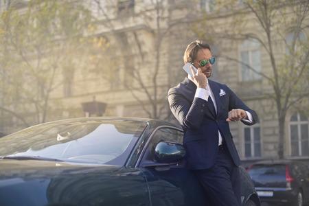 Businessman is having a phone call