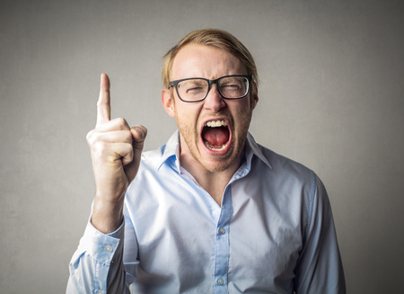 Angry businessman is shouting Stock Photo
