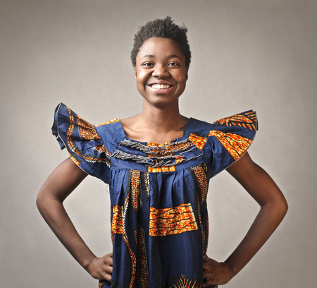 Happy african lady 版權商用圖片