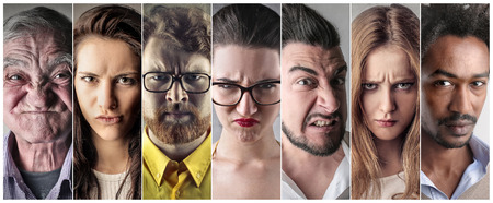 A group of angry people Stock Photo