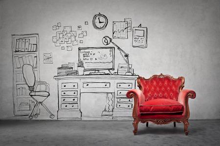 상상의 방에있는 빨간 안락 의자 스톡 콘텐츠