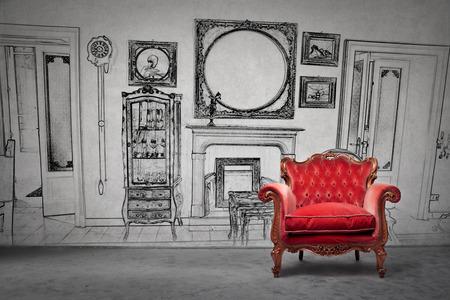 An Old Armchair Stock Photo   81157388