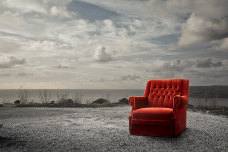 The red armchair at the sea