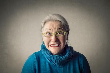 Old lady is angry Reklamní fotografie