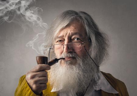 vintage background: Smoking a pipe Stock Photo