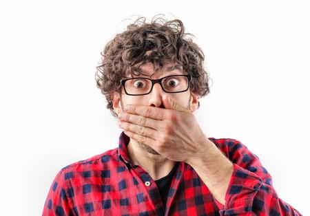 Surprised man in glasses Foto de archivo