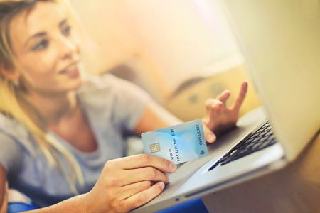 Shopping online with a card photo