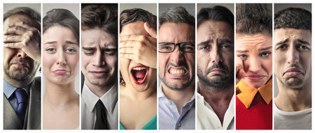 Crying men and women photo